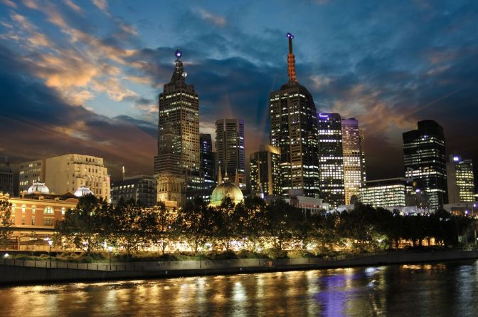 Melbourne night skyline, along the Yarra River