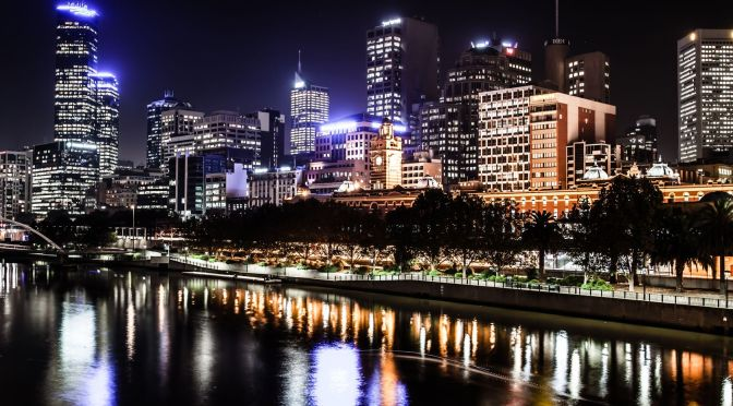 Melbourne night skyline, with lights reflecting from the Yarra River
