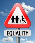 Equality Triangular Road Sign, with person in wheelchair with couple