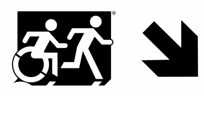 Accessible Means of Egress Page Header, running Man Wheelie Man part of the Accessible Exit Sign Project