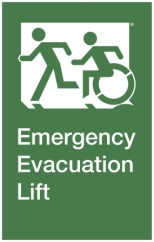 Emergency Evacuation Lift Left Hand Accessible Exit Sign Project Wheelchair Accessible Means of Egress Icon