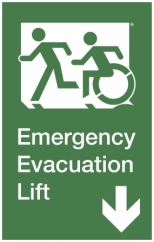 Emergency Evacuation Lift Left Hand Down Accessible Exit Sign Project Wheelchair Accessible Means of Egress Icon
