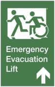 Emergency Evacuation Lift Left Hand Up Accessible Exit Sign Project Wheelchair Accessible Means of Egress Icon