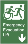 Emergency Evacuation Lift Right Hand Down Accessible Exit Sign Project Wheelchair Accessible Means of Egress Icon