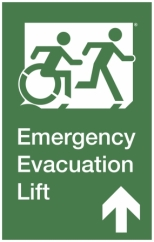 Emergency Evacuation Lift Right Hand Up Accessible Exit Sign Project Wheelchair Accessible Means of Egress Icon