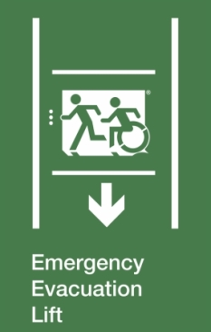 Emergency Evacuation Lift Running Man Wheelie Man Left Hand Down Arrow Exit Sign Project Wheelchair Accessible Means of Egress Icon