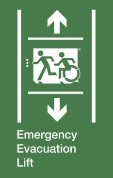 Emergency Evacuation Lift Running Man Wheelie Man Left Hand Up and Down Arrows Exit Sign Project Wheelchair Accessible Means of Egress Icon