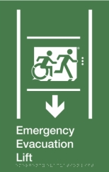 Emergency Evacuation Lift Running Man Wheelie Man Right Hand Down Arrow Accessible Exit Sign with braille Exit Sign Project Wheelchair Accessible Means of Egress Icon