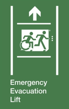 Emergency Evacuation Lift Running Man Wheelie Man Right Hand Up Arrow Exit Sign Project Wheelchair Accessible Means of Egress Icon