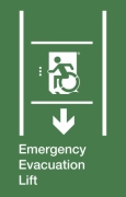 Emergency Evacuation Lift Wheelie Man Left Hand Down Arrow Exit Sign Project Wheelchair Accessible Means of Egress Icon
