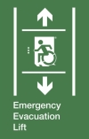 Emergency Evacuation Lift Wheelie Man Left Hand Up and Down Arrows Exit Sign Project Wheelchair Accessible Means of Egress Icon