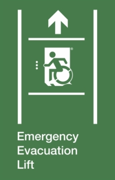 Emergency Evacuation Lift Wheelie Man Left Hand Up Arrow Exit Sign Project Wheelchair Accessible Means of Egress Icon
