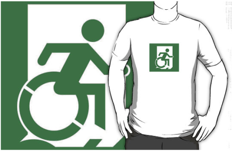 Wheelie Man Exit Sign TM Logo Adult tee