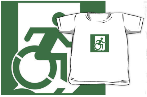 Wheelie Man Exit Sign TM Logo Kids tee