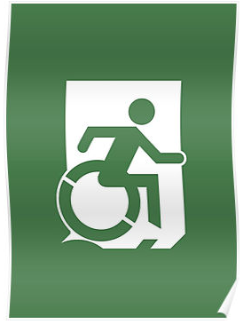 Wheelie Man Exit Sign TM Logo Poster