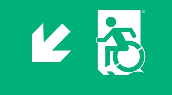 Wheelie Man Page Header, part of the Accessible Exit Sign Project