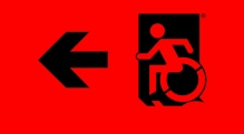 Accessible Means of Egress Page Header, Wheelie Man part of the Accessible Exit Sign Project