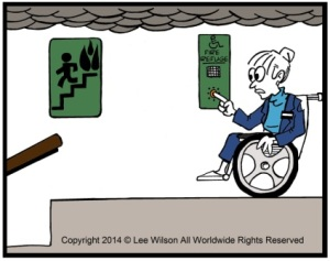 Accessible Means of Egress, Person using a Wheechair in Fire Refuge using Communications