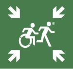Emergency Evacuation Accessible Means of Egress Icon  Accessible Exit Refuge Safe Area Sign