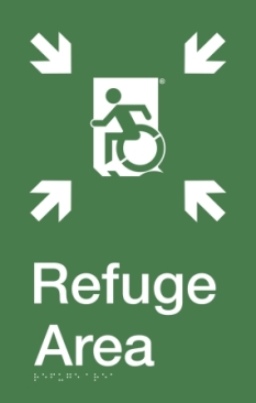 Safe Area of Refuge Wheelie Man Running Man Wheelchair Refuge Area Sign with Braille ® Accessible Exit Sign Project Wheelchair Accessible Means of Egress Icon
