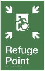 Safe Refuge Point Wheelie Man Running Man Wheelchair Refuge Area Sign with Braille ® Accessible Exit Sign Project Wheelchair Accessible Means of Egress Icon