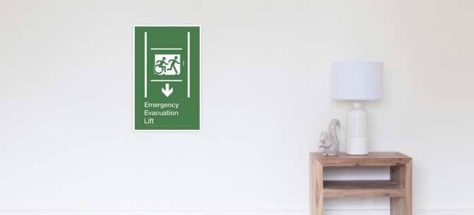 Accessible Means of Egress Exit Emergency Evacuation Lift Sign Poster