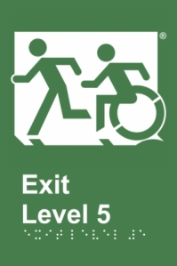 Emergency Evacuation Lift Running Man Accessible Means of Egress Icon Accessible Exit Door Sign