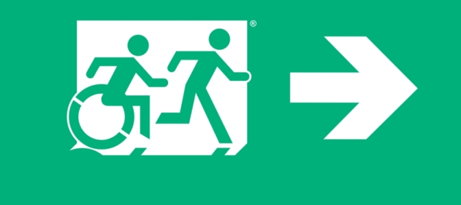 Accessible Means of Egress Page Header, Runing Man Wheelie Man part of the Accessible Exit Sign Project