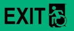 Left Hand Black on New Green Exit Wheelie Man Wheelchair Accessible Exit Sign