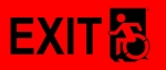 Left Hand Black on Red Exit Wheelie Man Wheelchair Accessible Exit Sign
