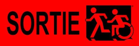Left Hand Black on Red Sortie Running Man Wheelie Man Wheelchair Accessible Exit Sign