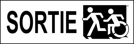 Left Hand Black on White Sortie Running Man Wheelie Man Wheelchair Accessible Exit Sign