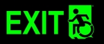 Left Hand Lime New Green on Black Exit Wheelie Man Wheelchair Accessible Exit Sign