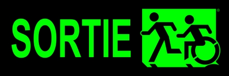 Left Hand Lime New Green on Black Running Man Wheelie Man Wheelchair Accessible Exit Sign