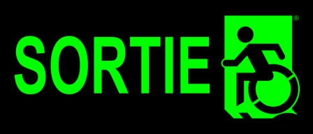 Left Hand Lime New Green on Black Sortie Wheelie Man Wheelchair Accessible Exit Sign