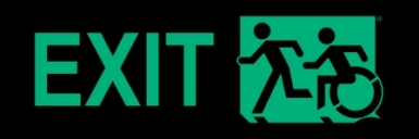 Left Hand New Green on Black Exit Running Man Wheelie Man Wheelchair Accessible Exit Sign