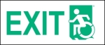 Left Hand New Green on White Exit Wheelie Man Wheelchair Accessible Exit Sign