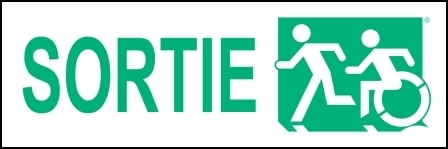 Left Hand New Green on White Sortie Running Man Wheelie Man Wheelchair Accessible Exit Sign