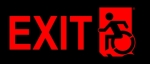 Left Hand Red on Black Exit Wheelie Man Wheelchair Accessible Exit Sign