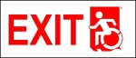 Left Hand Red on White Exit Wheelie Man Wheelchair Accessible Exit Sign