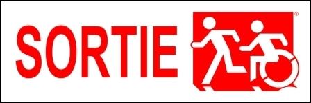 Left Hand Red on White Sortie Running Man Wheelie Man Wheelchair Accessible Exit Sign
