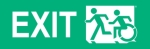 Left Hand White on New Green Exit Running Man Wheelie Man Wheelchair Accessible Exit Sign