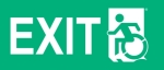 Left Hand White on New Green Exit Wheelie Man Wheelchair Accessible Exit Sign