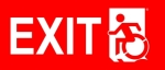Left Hand White on Red Exit Wheelie Man Wheelchair Accessible Exit Sign