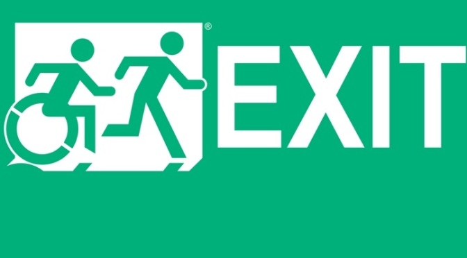 White on New Green Exit Running Man Wheelie Man Wheelchair Accessible Exit Sign