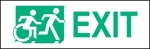 Right Hand New Green on White Exit Running Man Wheelie Man Wheelchair Accessible Exit Sign