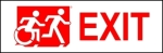 Right Hand Red on White Exit Running Man Wheelie Man Wheelchair Accessible Exit Sign