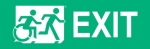 Right Hand White on New Green Exit Running Man Wheelie Man Wheelchair Accessible Exit Sign