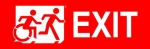 Right Hand White on Red Exit Running Man Wheelie Man Wheelchair Accessible Exit Sign