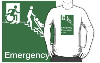 Accessible Exit Sign Project Wheelchair Wheelie Man Symbol Means of Egress Icon Disability Emergency Evacuation Fire Safety Chair Adult T-shirt 1